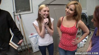 Horny bitches Rosalie Ruiz, Tweety Valentine and Amy Quinn pick up guys for dirty quickie thumb