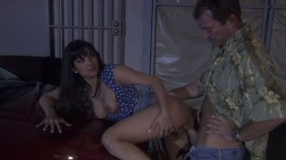 Street bitch Carmen Hart gets her pussy fucked on the car hood thumb