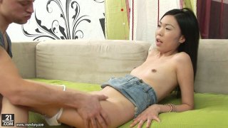 Skinny Asian brunette Yiki gets her pussy licked and ass fingered thumb