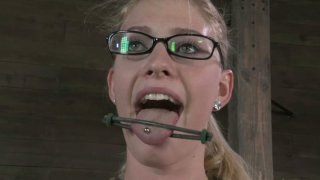 True fan of tough fuck Allie James is tied up and made to suck_a cock thumb