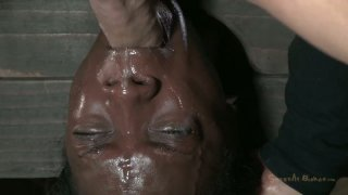 Ugly black chick Ana Foxxx is hung upside down and sucks a cock thumb