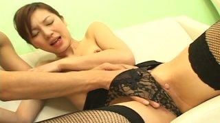 Lusty Japanese whore Asahi Miura gives head and gets fingered thumb