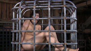 Fat Russian MILF Marina_gives footjob in the slave cage thumb