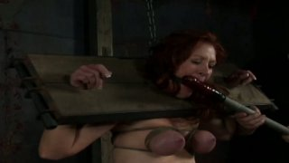 Dirty hoe in stocks Catherine de Sade gets her boobs_tied up thumb