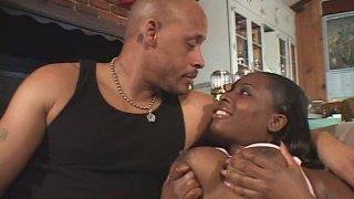 Hefty ebony hooker Fushia La Pinup gives head and rides on_top thumb