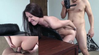 Skinny Tattooed Chick's Anal Ride on Couch thumb