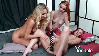 Three horny girls playing with their sex toys thumb