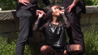 Dark Haired Babe Gangbanged In Public thumb