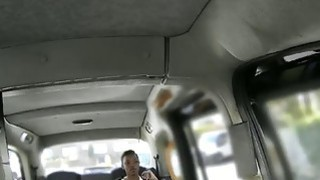 Ebony babe fucked and facialed by fake driver in public thumb