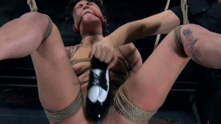 Swinging tied up tattooed bitch Syd Blakovich is treated in BDSM way thumb