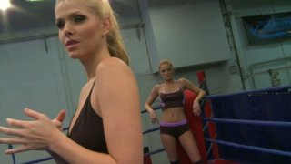 Feisty Katalin and Lily Love are having passionate fight on_a ring thumb