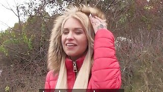 Money lover blonde bangs in public thumb