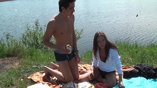 Anne in hot hard sex in nature in a sex tape video thumb