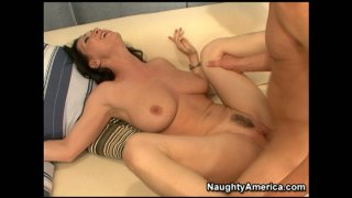 Missionary turns into a hot cock riding with impressive brunette Rayveness thumb