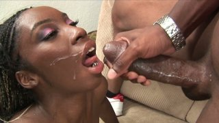 Ebony lady Jaycee gets nailed doggystyle and takes huge facial thumb