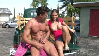 Slutty brown head Jennifer Dark fucks a stranger in a truck thumb