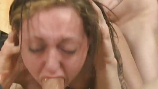 Brunette Sucking Dick And Doggystyled In Rough Threesome thumb