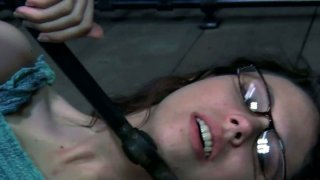 Nerdy four eyed teen Kristine Andrews in her first BDSM session thumb