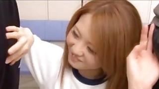 Hot Japanese schoolgirl gets fucked balls deep in gym class thumb