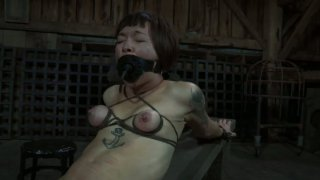 Freaky Asian slut Mei Mara is tied up and tormented with a dildo thumb
