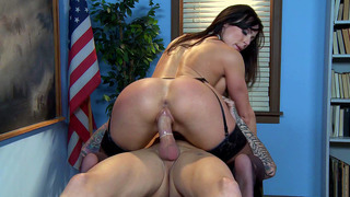 Naughty teacher Kendra Lust rides hard dick cowgirl style thumb