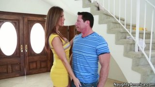 Jennifer Dark flirts with his panty fellow thumb