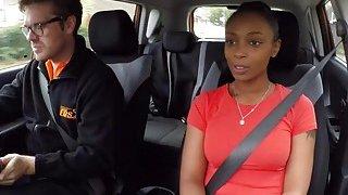 Fake driving instructor bangs natural busty ebony thumb