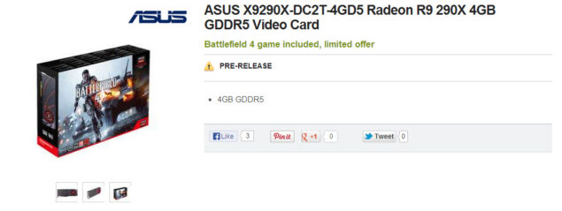 AMD Radeon R9 290X Listed On Newegg For 72999 ASUS R9 290X DirectCU II TOP Spotted Too
