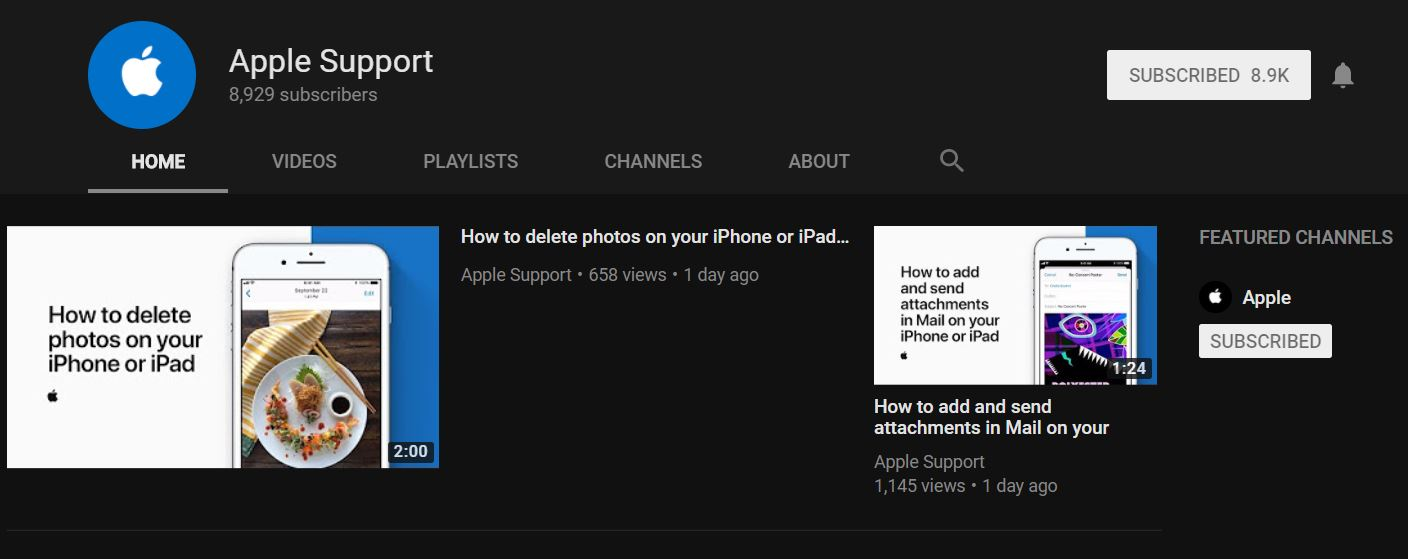 Apple Launches YouTube Channel Featuring Tutorials For The iPhone     Now Apple is expanding its support with a dedicated Apple Support YouTube  channel