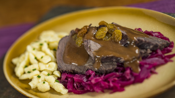 Sauerbraten with red cabbage and spätzle