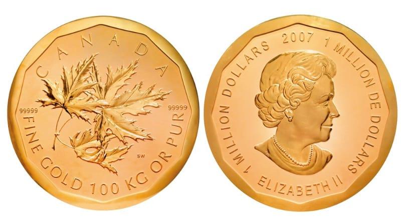 Moedas Mais Caras - Folha de Bordo Canadense em Ouro de $ 1 Milhão (2007)