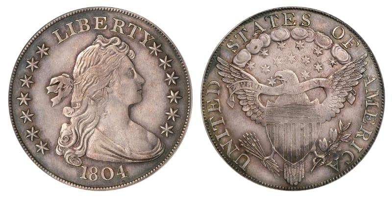 Moedas Mais Caras - Dólar do Busto - Classe 1 - Espécime Dexter-Poque (1804)