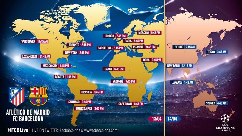 A qué hora juegan Atlético de Madrid vs Barcelona en Champions League 2016 - horarios-atletico-de-madrid-vs-barcelona-champions-league-2016