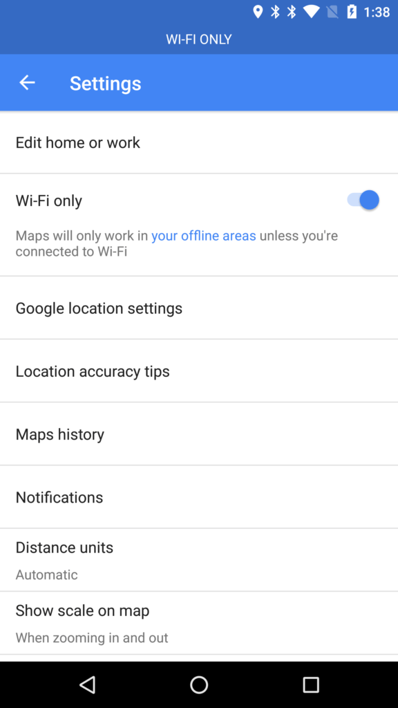 Google Maps está probando un modo de solo Wi-Fi - google-maps-offline