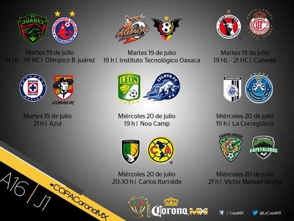 Partidos de la Jornada 1 en la Copa MX Apertura 2016; horarios y en qué canal se transmiten - j1-copa-corona-mx-apertura-2016