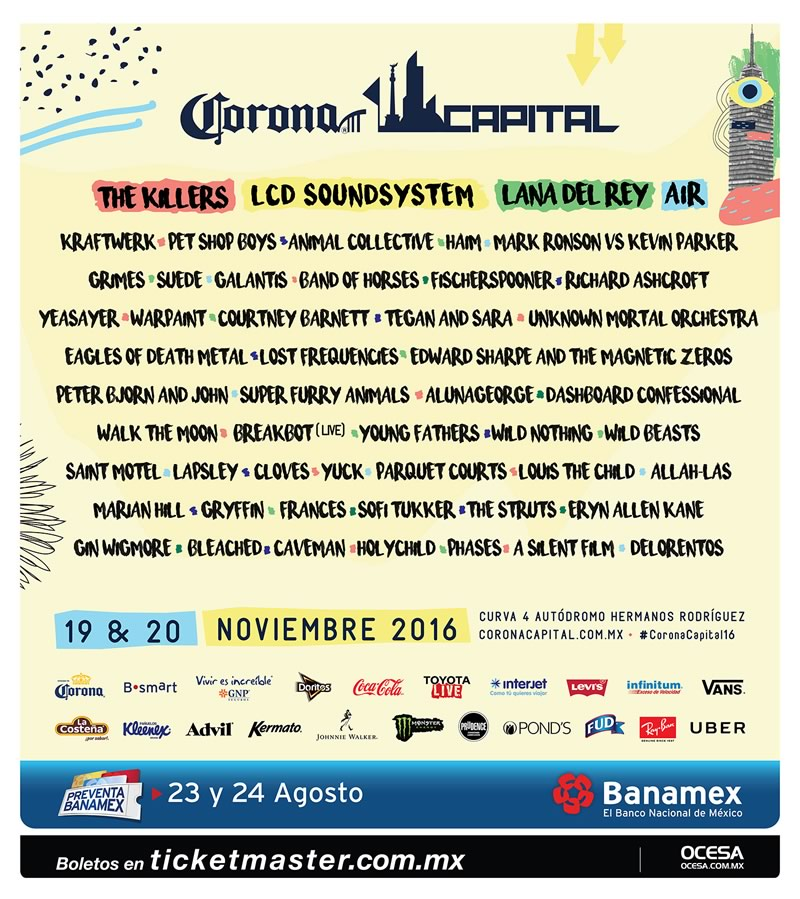 Corona Capital 2016 anuncia su cartel ¡Conócelo! - cartel-completo-corona-capital-2016