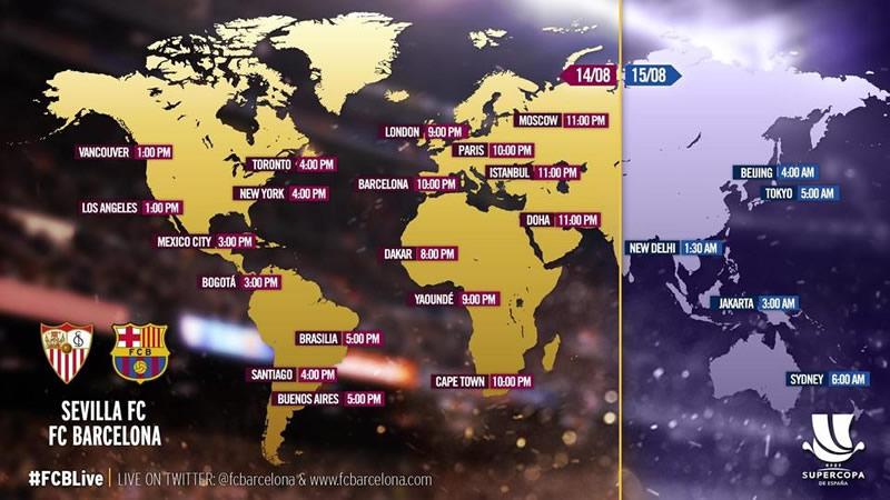 A qué hora juega Sevilla vs Barcelona la Supercopa de España 2016 y en qué canal se transmite - horarios-supercopa-espana-2016-sevilla-vs-barcelona