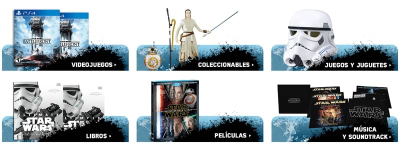 Amazon México rediseña su tienda de Star Wars por el estreno de Rogue One - categorias-tienda-star-wars-amazon