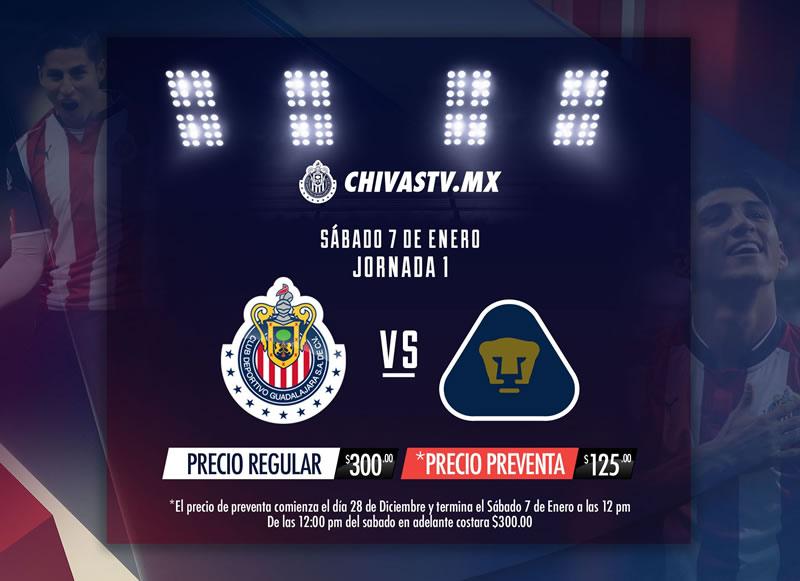 chivas vs pumas chivas tv clausura 2017 Chivas vs Pumas, Jornada 1 del Clausura 2017 | Resultado: 2 1