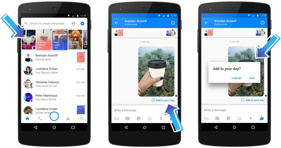 Facebook Messenger Day o cómo la red social quiere pisarle (más) los talones a Snapchat - facebook-messenger-day-admin