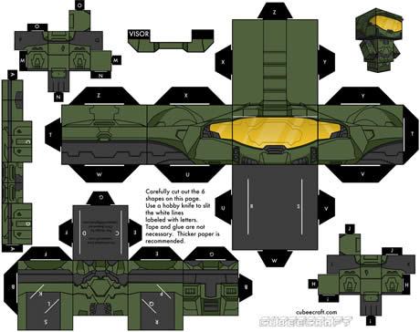 figuras recortables halo Muñecos recortables gratis en CubeeCraft