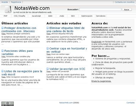 Red social de desarrolladores web, Notas Web - red-social-desarrollo-web
