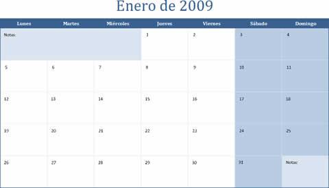 Calendario 2009 para imprimir en Excel - calendario-2009-excel