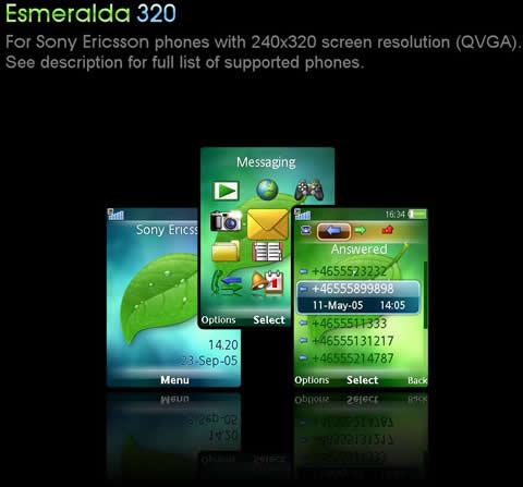 Temas sony ericsson, Esmeralda 320 - themes-sony-ericsson-esmeralda