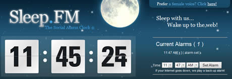despertador online Sleep.FM, una alarma online