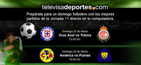 futbol mexicano Futbol mexicano en vivo, Jornada 11