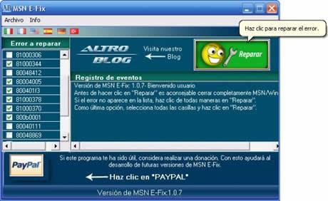 reparar msn Errores msn, reparalos con MSN E Fix