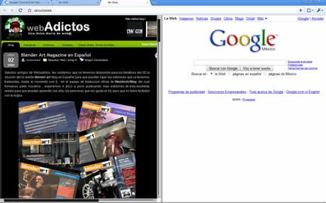 Mirar dos sitios a la vez en Google Chrome y Firefox - chrome-dual-view
