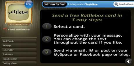postales en video Tarjetas electronicas en video con Rattlebox