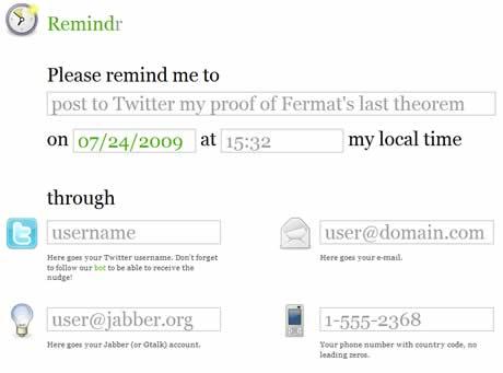 recordatorios sms Recordatorios por sms, correo, y twitter con Remindr